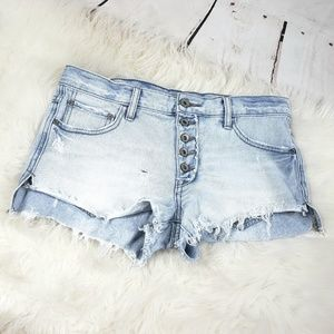 Free people light wash distressed festival shorts
